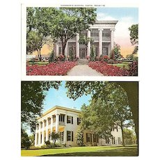Two Postcards of Governor's Mansion, Austin, Texas
