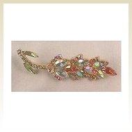 Elegant Rhinestone Pin with Aurora Borealis Stones