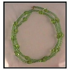 """Luscious Lime Green Glass Bead Necklace 29"""" Long"""