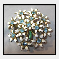 Pretty White Enamel Flower Pin with Aqua Stones