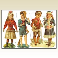 Large Die Cuts of Edwardian Children