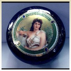 A Fabulous Antique Royal Vienna Hand Painted Portrait Porcelain Trinket /Jewelry Box Beehive Mark