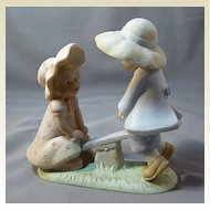 """Blue Button Twins Figurine """"What Goes Up"""""""