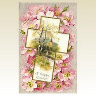 Winsch Easter Postcard with Cross, Flowers and Pastoral Scene