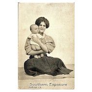 Real Photo Postcard of Mother and Bare Bottom Baby