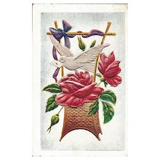 Pretty Vintage Postcard with Basket of Roses, Bird with Letter and Ribbon