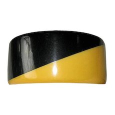 Black and Cream Corn and Black Two Tone Wide Bakelite Art Deco Bangle Bracelet