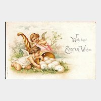 Easter Postcard with Two Cherubs / Angels / Cornucopia and Eggs