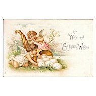 Easter Postcard with Two Cherubs Angels, a Cornucopia and Eggs