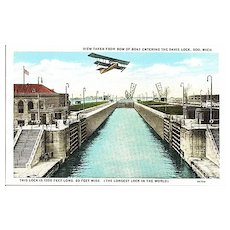 Postcard of the Longest Lock in the World, The Davis Lock in Michigan