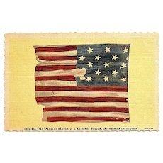 Postcard Depicting the Original Star Spangled Banner, U.S. National Museum, Smithsonian Institution