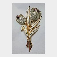 Large Flower Trembler Tremblant Pin Circa 1940s