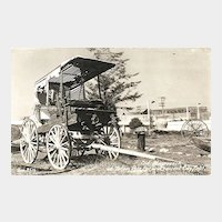 Real Photo Postcard of Old Stagecoach at Totem Pole Park, Crescent City, Calif
