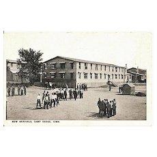 Postcard of New Arrivals at Camp Dodge Iowa