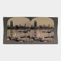 Keystone Stereo View Houses of Parliament, Westminster Abby and the Thames