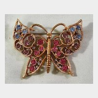 Lovely Butterfly Pin with Colored Stones