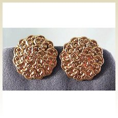 Round Gold-tone Clip Earrings