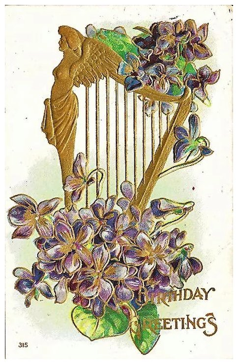 Birthday greetings postcard with golden angel on harp antique birthday greetings postcard with golden angel on harp m4hsunfo
