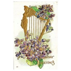 Birthday Greetings Postcard with Golden Angel on Harp