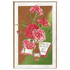 Lovely Christmas Postcard with Vase of  Flowers