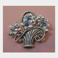 Sweet Silver-tone Basket Pin with Rhinestones by AAI