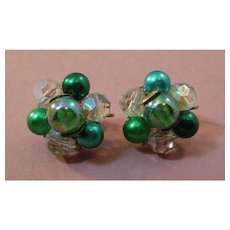 Crystal and Green Simulated Pearl Clip Earrings
