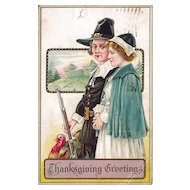 Thanksgiving Postcard Pilgrims