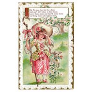 Little Bo Peep Nursery Rhyme Postcard