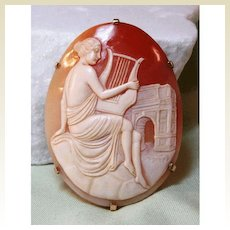 Shell Cameo in 14 K Gold Setting - Maiden Playing Lyre with Arc de Triomphe in Background Fine Jewelry