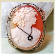 White Gold 14K Filigree Shell Cameo Diamond Habille Brooch Pendant Fine Jewelry