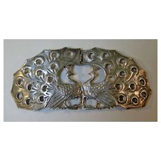 Amazing English Sterling Peacock Buckle Art Nouveau