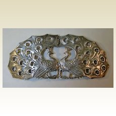 Amazing English Sterling Peacock Buckle Art Nouveau