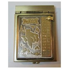 Texas Miniature Metal Flip Top Style Address Book