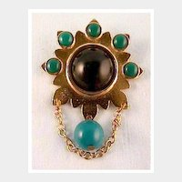 Gold-tone Pin with Jade and Black Cabochon Stones