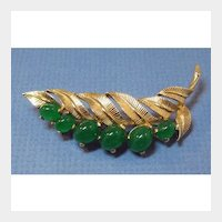 Boucher Pin with Glass Jade Colored Cabochon Stones