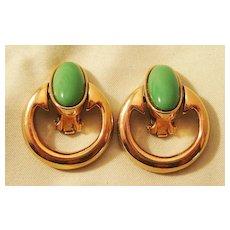 Bergere Door Knocker Earrings with Jade Colored Stones