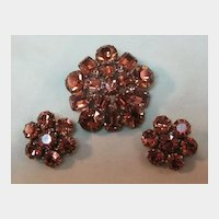 Stunning Rich Topaz Colored Weiss Pin and Earring Set