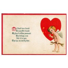 Valentine Postcard with Cupid and Heart by Bergman