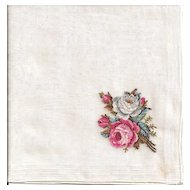 Lovely Gossamer Sheer Hankie with Petite Point Roses