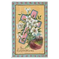 Heavily Embossed Easter Postcard with Cross