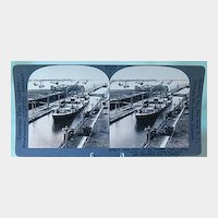 Keystone Stereo View - Busy Scene on the Panama Canal