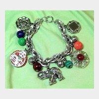 Asian Theme Silver-tone Chunky Charm Bracelet Signed Germany
