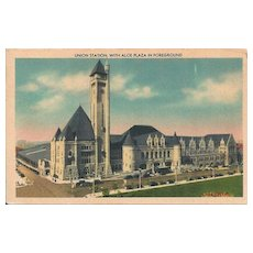 Postcard of Union Station, with Aloe Plaza in Foreground in St. Louis, Missouri