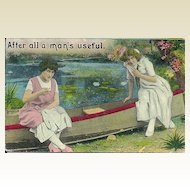 Vintage Postcard of Two Ladies Sitting on a Row Boat