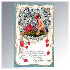Nash Valentine's Day Postcard Cherub with Wheelbarrow Full of Hearts