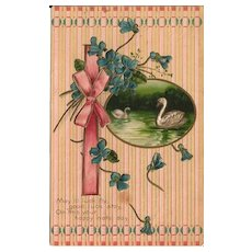 Unique Birthday Postcard with Flowers, Ribbons and Swans