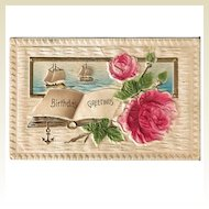 Heavily Embossed Postcard Birthday Greetings with Roses and Ships