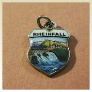 Vintage Rheinfall Enamel Travel Charm - 800 Silver