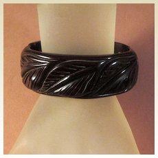 Dark Chocolate Bakelite Clamper Bracelet with Very Nice Carving