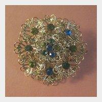 Filigree Flower Pin with Blue, Emerald Green and  Olivine Rhinestones